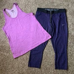 Nike size large workout capri leggings and tank